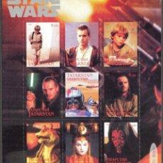 Sellos: TATARSTAN 1999 HOJA BLOQUE SELLOS CINE PELICULA STAR WARS- SKYWALKER- YODA- R2 D2-HAN SOLO- GROGU. Lote 273329948