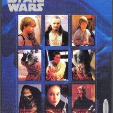 Sellos: TATARSTAN 1999 HOJA BLOQUE SELLOS CINE PELICULA STAR WARS- SKYWALKER- YODA- R2 D2-HAN SOLO- GROGU. Lote 273330018