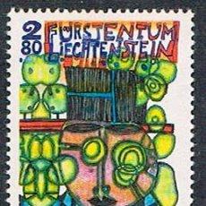 Sellos: LIECHTENSTEIN IVERT Nº 1001, HUNDERTWASSER, EL HOMBRE DEL SOMBRERO NEGRO, NUEVO ***. Lote 278597823