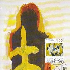 Sellos: LIECHTENSTEIN IVERT 996, EL PEQUEÑO AZUL, CUADRO DE EVI KLIEMAND, TARJETA MAXIMA DE 1-3-1993. Lote 278599503