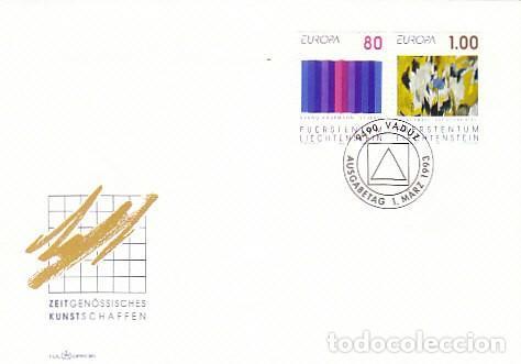 LIECHTENSTEIN IVERT 995/6, CUADROS DE BRUNO KAUFMANN Y EVI KLIEMAND, PRIMER DIA 1-3-1993 (Sellos - Temáticas - Arte)