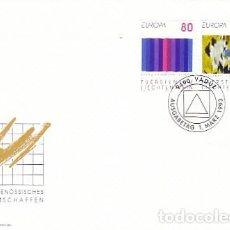 Sellos: LIECHTENSTEIN IVERT 995/6, CUADROS DE BRUNO KAUFMANN Y EVI KLIEMAND, PRIMER DIA 1-3-1993. Lote 278599848