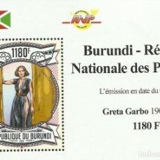 Sellos: BURUNDI 2013 HOJA BLOQUE SELLOS CINE GRETA GARBO. Lote 287328613