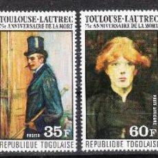 Sellos: TOGO AÑO 1976 - PINTURA - 75º ANIVERSARIO DE LA MUERTE DE TOULOUSE - LAUTREC **. Lote 287691233