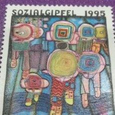 Sellos: SELLO NACIONES UNIDAS (VIENA) NUEVO/1995/CUMBRE/DESARROLLO/SOCIAL/ARTE/PINTURA/CUADRO/GENTE/CUBOS. Lote 287780418
