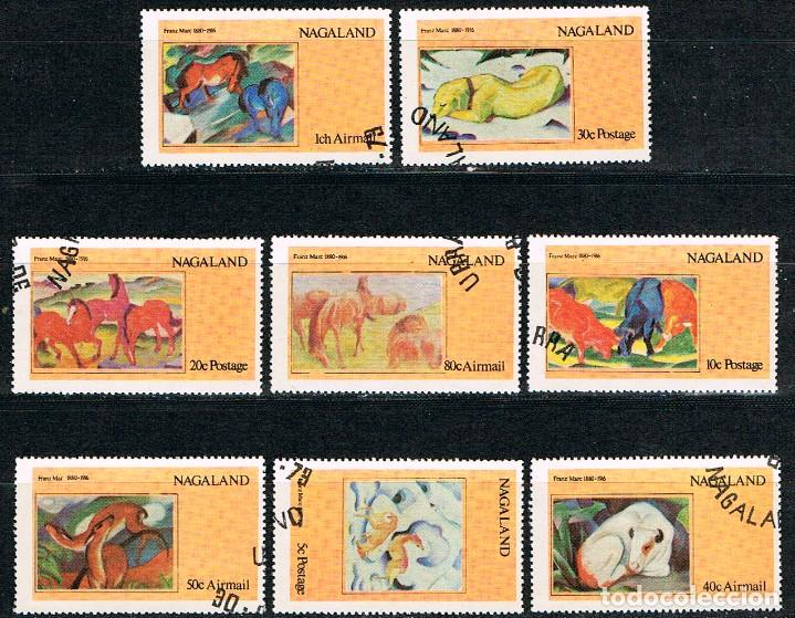 NAGALAND, CUADROS DE FRANK MARC, USADOS (SERIE COMPLETA) (Sellos - Temáticas - Arte)