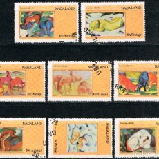 Sellos: NAGALAND, CUADROS DE FRANK MARC, USADOS (SERIE COMPLETA). Lote 287935773