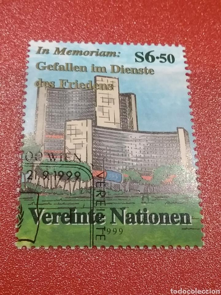 SELLO NACIONES UNIDAS (VIENA) MTDO/1999/HOMENAJE/CAIDOS/PAZ/EDIFICIO/ARTE/ARQUITECTURA/JARDIN/ARBOL/ (Sellos - Temáticas - Arte)