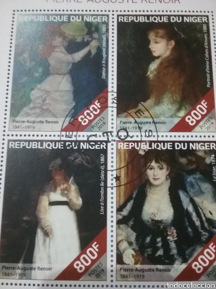 Sellos: HB (2) R. Niger mtdas/2019/pinturas/Auguste/Renoir/cuadros/arte/flores/ramo/trajes/bailes/niña/noble - Foto 2 - 287960893