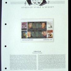 Sellos: GIBRALTAR HOJA BLOQUE SELLOS CENTENARIO DEL CINE MARILYN- HEPBURN- MONTAND- SCHNEIDER. Lote 288512628