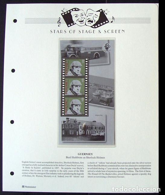 GUERNSEY HOJA BLOQUE DE SELLOS 100 AÑOS DEL CINE- BASIL RATBBONE- COMO SHERLOCK HOLMES (Sellos - Temáticas - Arte)
