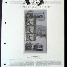 Sellos: GUERNSEY HOJA BLOQUE DE SELLOS 100 AÑOS DEL CINE- BASIL RATBBONE- COMO SHERLOCK HOLMES. Lote 288531998