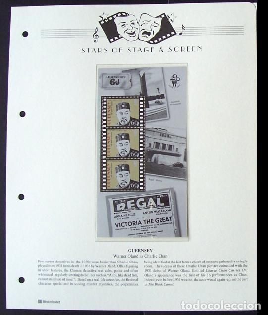 GUERNSEY HOJA BLOQUE DE SELLOS 100 AÑOS DEL CINE- WARNER OLAND- COMO CHARLIE CHAN (Sellos - Temáticas - Arte)