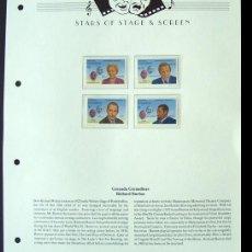 Sellos: GRENADA HOJA BLOQUE DE SELLOS DE LA PELÍCULA SHAKESPEARE RICHARD BURTON - PAUL ROBESON - BARRYMORE. Lote 288534658