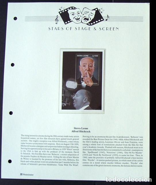 SIERRA LEONA HOJA BLOQUE SELLOS DEL FAMOSO DIRECTOR ALFRED HITCHCOCK - CINE DE TERROR (Sellos - Temáticas - Arte)
