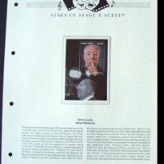 Sellos: SIERRA LEONA HOJA BLOQUE SELLOS DEL FAMOSO DIRECTOR ALFRED HITCHCOCK - CINE DE TERROR. Lote 288535883