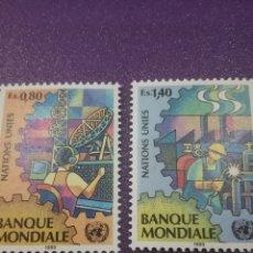 Sellos: SELLO NACIONES UNIDAS (GINEBRA) NUEVO/1989/BANCO/MUNDIAL/TRABAJOS/SOLDADOR/ANTENA/TELE/COMUNICACION/. Lote 288711143