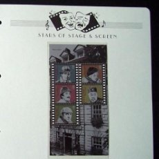 Sellos: GUERNSEY HOJA BLOQUE DE SELLOS 100 AÑOS DEL CINE- SHERLOCK HOLMES - BOGART - PETER SELLERS - OLAND. Lote 288941623