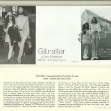 Sellos: GIBRALTAR SOBRE PRIMER DIA CIRCULACION CONMEMORATIVO DE JOHN LENNON & YOKO ONO - THE BEATLES. Lote 288943823