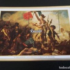 Sellos: HOJA DE BLOQUE ARTE DELACROIX LA LIBERTE. RWANDA 60 F., CON GOMA. Lote 295694358