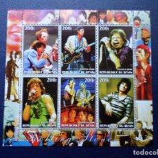 Sellos: .BENIN, 2006, HOJA BLOQUE LEYENDAS DE LA MUSICA, ROLLING STONES. Lote 296611338