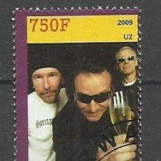 Sellos: RUANDA 2009 SELLO DELFAMOS0 GRUPO DE MUSICA U2 U 2. Lote 297280948