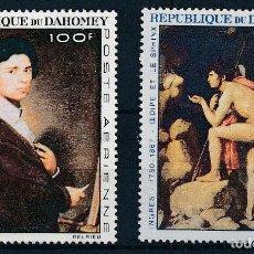 Sellos: DAHOMEY 1967 AEREO IVERT 53/4 *** CENTENARIO DE LA MUERTE DEL PINTOR INGRES - PINTURA. Lote 297281053