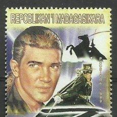 Sellos: MADAGASCAR 1999 SELLO TEMATICA CINE - PELICULAS - ACTOR ANTONIO BANDERAS - EL ZORRO. Lote 297342423
