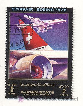 EMIRATOS ARABES, AJMAN, AEREOS, SWISSAIR, BOING 747 (Sellos - Extranjero - Asia - Otros paises)