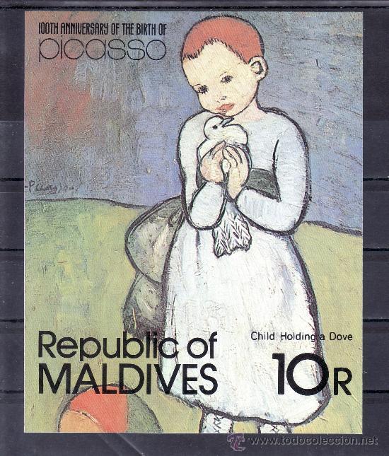 MALDIVAS HB 74 SIN CHARNELA, CENTENARIO NACIMIENTO DEL PINTOR PABLO RUIZ PICASSO, (Sellos - Extranjero - Asia - Otros paises)