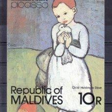 Sellos: MALDIVAS HB 74 SIN CHARNELA, CENTENARIO NACIMIENTO DEL PINTOR PABLO RUIZ PICASSO, . Lote 24789085