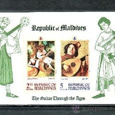 Sellos: MALDIVAS HB 12 SIN CHARNELA, MUSICA, PINTURA. Lote 24789106