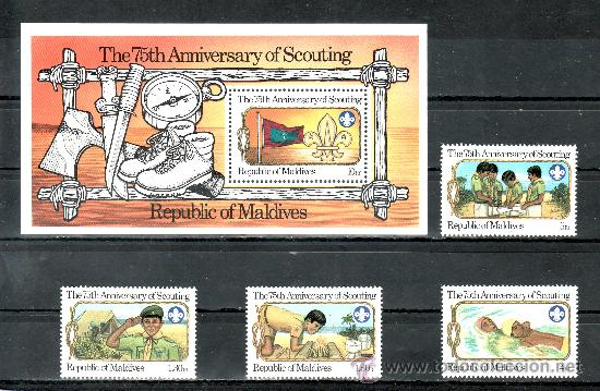 MALDIVAS 896/9, HB 81 SIN CHARNELA, DEPORTE, 75º ANIVERSARIO DEL MOVIMIENTO SCOUTS, (Sellos - Extranjero - Asia - Otros paises)