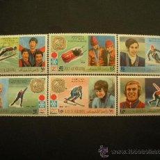 Selos: ARABIA - RAS AL KHAIMA 1966 IVERT 87 Y AEREO 94 *** GANADORES JUEGOS OLIMPICOS SAPPORO - DEPORTES. Lote 34635514