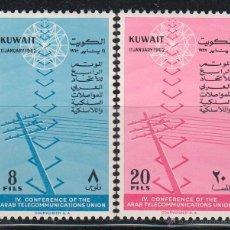 Sellos: KUWAIT IVERT Nº 161/2, 4ª CONFERENCIA DE LA UNIÓN ARABE DE TELECOMUNICACIONES, NUEVOS. Lote 42089207
