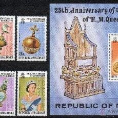 Sellos: MALDIVAS AÑO 1978 YV 707/12*** + HB 48*** - 25º ANVº CORONACIÓN DE LA REINA ISABEL II - PERSONAJES. Lote 43684797