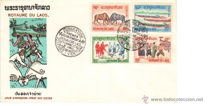 LAOS SOBRE PRIMER DIA 1965 FESTIVAL DE FOLKLORE SPD (Sellos - Extranjero - Asia - Otros paises)