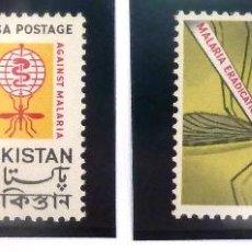 Sellos: SELLOS PAKISTAN 1962. ANTI MALARIA. 2 VALORES NUEVOS. ANTIPALUDISMO.. Lote 46060099