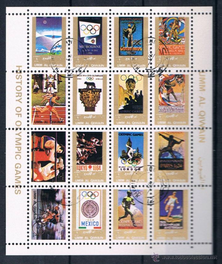 HOJA BLOQUE UMM AL QIWAIN 1972 HISTORY OLYMPIC GAMES - JUEGOS OLIMPICOS REF003 (Sellos - Extranjero - Asia - Otros paises)
