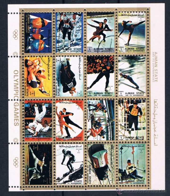 HOJA BLOQUE UMM AL QIWAIN 1972 HISTORY OLYMPIC GAMES - JUEGOS OLIMPICOS (Sellos - Extranjero - Asia - Otros paises)