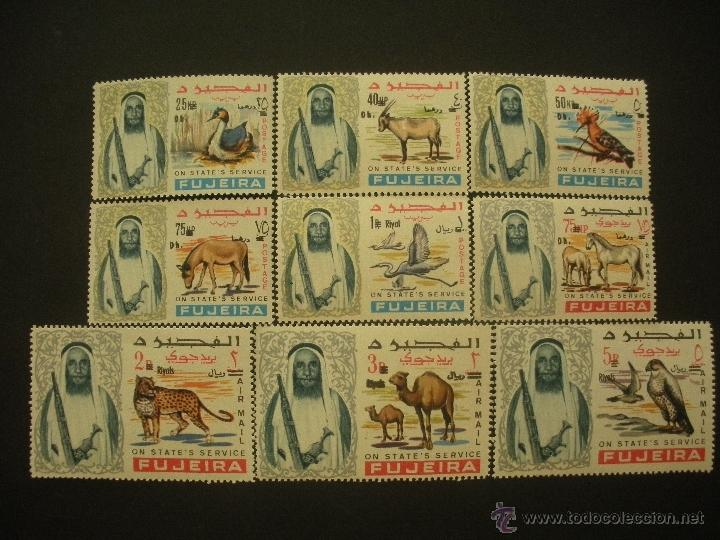 FUJEIRA - ARABIA 1967 IVERT 6 SERVICIO 5 AEREO/SERV. *** SERIE BÁSICA - MOHAMED BEN HAMAD - FAUNA (Sellos - Extranjero - Asia - Otros paises)