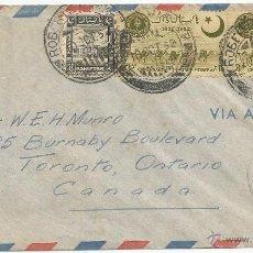 Sellos: 1952 - SOBRE DIRIGIDO DESDE PAKISTAN A CANADA. Lote 50661243