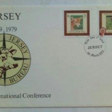 Sellos: 2 SOBRES PRIMER DÍA JERSEY 1979 9 INTERNATIONAL CONFERENCE WORLD JERSEY CATTLE BUREU. Lote 74609986