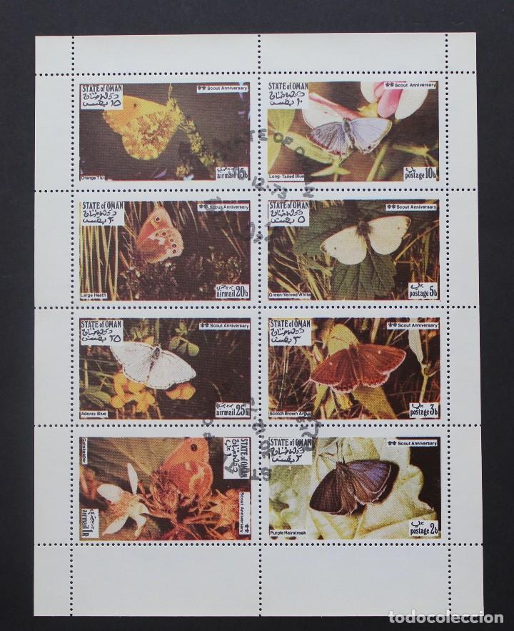 OMAN 1973, HOJA BLOQUE MARIPOSAS (O) (Sellos - Extranjero - Asia - Otros paises)