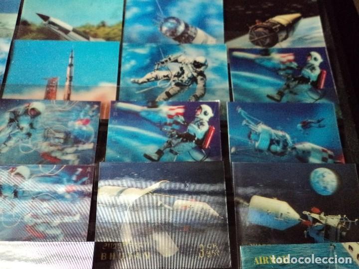 Sellos: 31 sellos TRIDIMENSIONALES y dos h.b.diferentes valores de bhutan la conquista del espacio (ESCASOS) - Foto 3 - 110080755