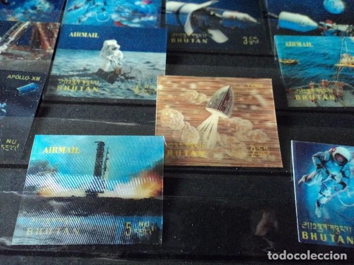 Sellos: 31 sellos TRIDIMENSIONALES y dos h.b.diferentes valores de bhutan la conquista del espacio (ESCASOS) - Foto 4 - 110080755