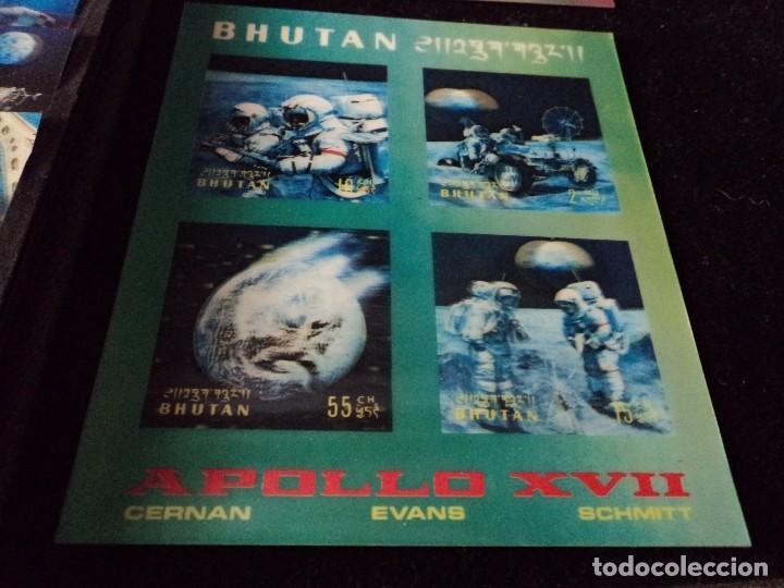 Sellos: 31 sellos TRIDIMENSIONALES y dos h.b.diferentes valores de bhutan la conquista del espacio (ESCASOS) - Foto 5 - 110080755