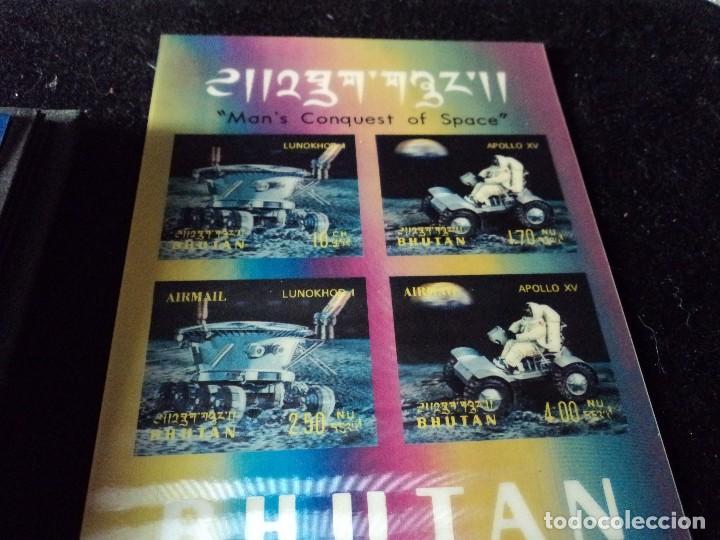 Sellos: 31 sellos TRIDIMENSIONALES y dos h.b.diferentes valores de bhutan la conquista del espacio (ESCASOS) - Foto 6 - 110080755