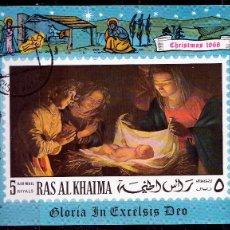 Sellos: RAS ALKHAIMA .1968. NAVIDADES,PINTURA HB *, GOMA. MHG (18-119). Lote 113350407