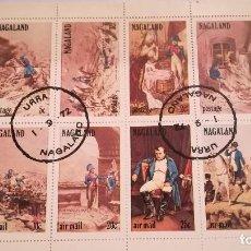 Sellos: HOJA BLOQUE CON 8 SELLOS DE NAGALAND DEL AÑO 1972 MOTIVO NAPOLEON. Lote 123856163